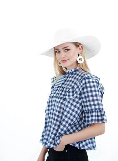 Laslusa İçten Ayarlanabilir Hasır Geniş Kenar Şapka Beyaz